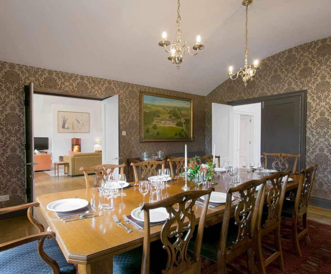 Classical dining room adjoins the living room