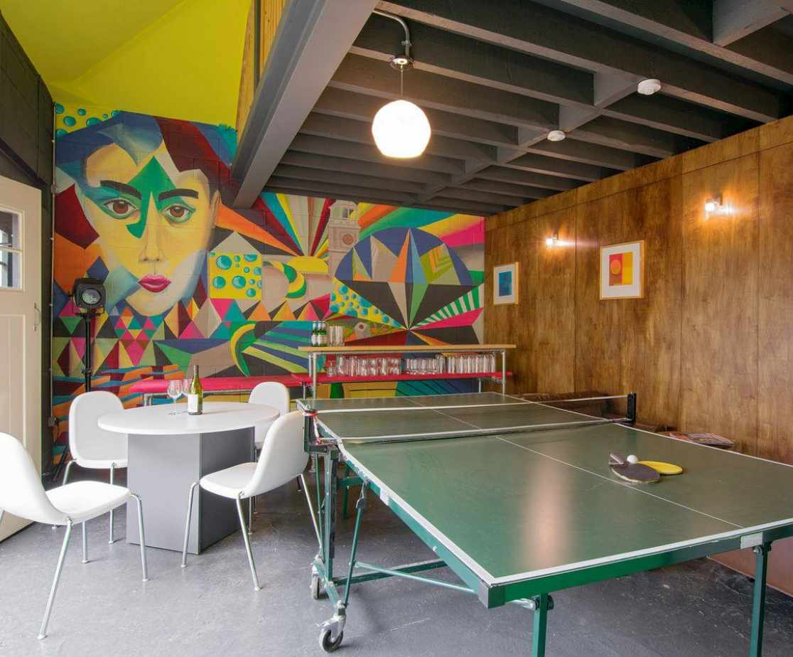 Fun Games room and bar with folding doors and mezzanine